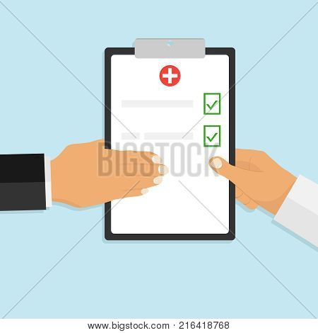 Hands with medical clipboard. The doctor gives medical clipboard. Clinical record medical report survey insurance paper.
