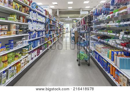 Toronto Canada - Oct 21 2017: Aisle in a large pharmacy and drug store in the city of Toronto Canada