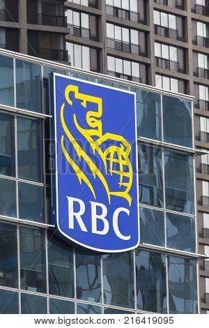 Toronto Canada - Oct 21 2017: RBC - Royal Bank of Canada logo on the head office building in Toronto Canada