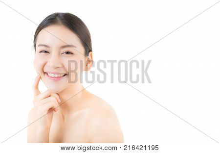 Beautiful girl with makeup woman and skin care cosmetics concept / attractive asia girl smilling on face isolated on white background.