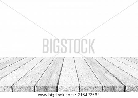 Empty perspective gray wood table isolated on white background banner table top shelf counter design for product display montage