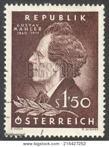 MOSCOW RUSSIA - CIRCA NOVEMBER 2017: a post stamp printed in AUSTRIA shows a portrait of Gustav Mahler circa 1960