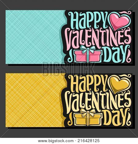 Vector greeting cards for St. Valentine's Day with copy space, 2 banners with pink heart and golden gift box, original handwritten font for text happy valentines day, cut paper for valentine holiday.