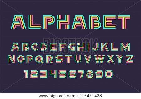 Vector of colorful Linear font and alphabet