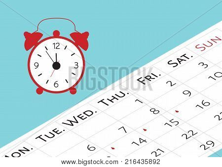 The calendar with the menstrual days marks. Vector illustration of blood period calendar with blood drops and clocks. Menstruation period pain protection. Feminine hygiene monthlies rainy days