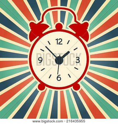 A vector illustration of simple red alarm clock on the vintage background. Old modern clock silhouette