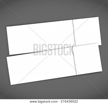 Blank event concert ticket mockup template. Concert, party or festival ticket design template.