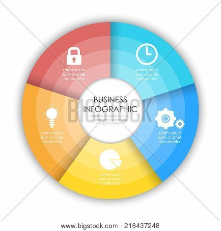 Round infographic diagram. Circles of 5 elements. Vector EPS10
