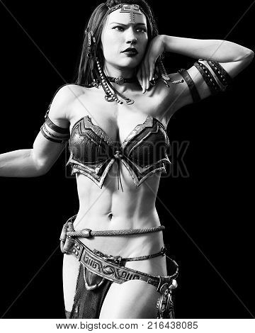 Warrior amazon woman with sword. Long dark hair. Muscular athletic body. Girl standing candid provocative aggressive pose. Conceptual fashion art. Realistic 3D rendering isolate illustration. Hi key. Black white.