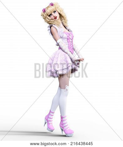 Young beautiful girl with doll face posing photo shoot. Short light pink dress, stockings, shoes. Long blonde hair. Bright goth make up. Conceptual fashion art. Realistic 3D render illustration.