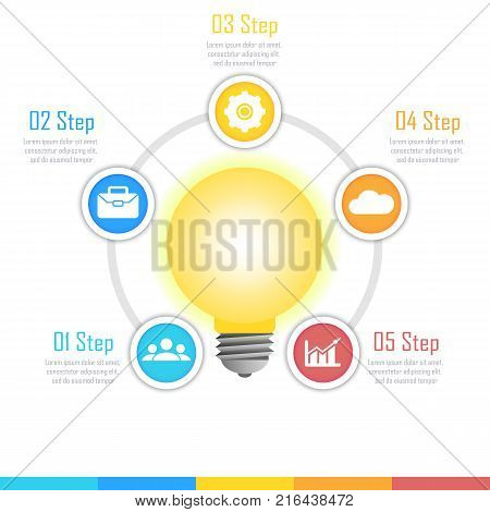 Light bulb round infographic template. Idea lamp concept with 5 step for graph, presentation, chart.