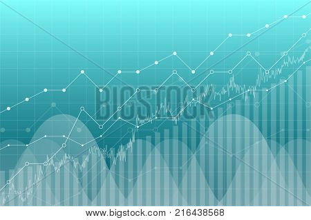Financial data graph chart vector illustration. Financial trend lines columns, stock market economy information background. Financial chart analytics economic concept, financial exchange growth.