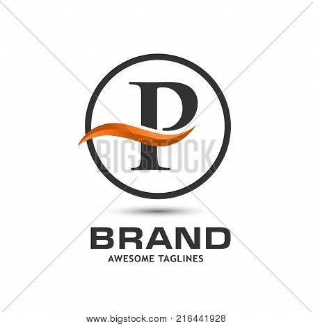 Business corporate letter P swoosh logo design template. Simple and clean flat design of letter K logo vector template. Letter P logo for business .