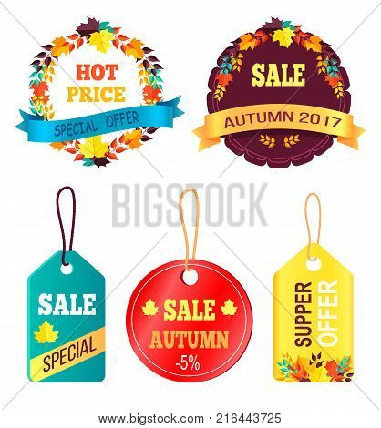 Super offer with discounts and autumn foliage vector hanging stickers set ready to use in shopping industry with text special price, best sale buy now