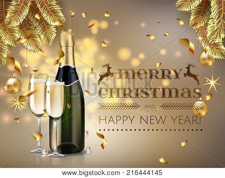 Merry Christmas and happy new year champagne bottle and glasses stock vector illustration in realistic style.  Greeting card or elegant holiday party invitation with golden christmas tree, confetti