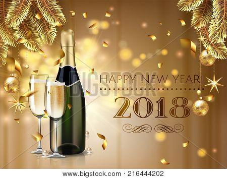 Celebration cheers happy new year champagne bottle and glasses stock vector illustration in realistic style.  Greeting card or elegant holiday party invitation with golden christmas tree, confetti