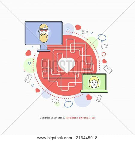 Concept of internet dating, online communication. Man and woman who have found love through dating site. Vector infographic illustration.