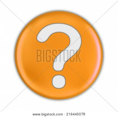 3d illustration. Button with Question Mark. Image with clipping path