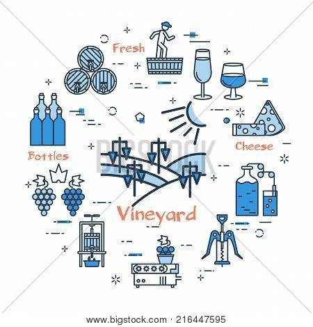 Vector linear blue round concept of Vineyard. Thin line icons of viticulture, harvesting and wine production. Modern web banner on white background