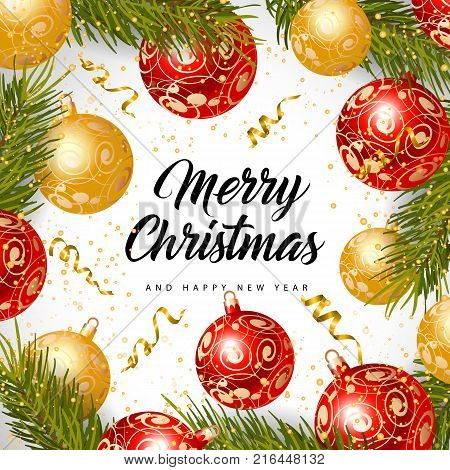 Merry Christmas and happy New Year lettering with baubles, fir sprigs and gold streamer on silver background. Calligraphic inscription can be used for greeting cards, festive design, posters, banners.