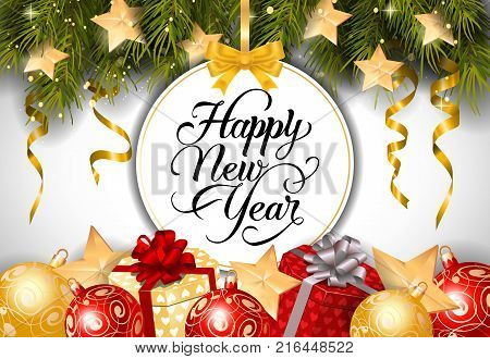 Happy New Year lettering on bauble-shaped tag with fir sprigs, baubles and present boxes. Calligraphic inscription can be used for greeting cards, festive design, posters, banners.