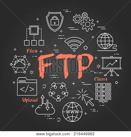 Vector linear round concept of File Transfer Protocol. Thin line icons of internet technologies and data transmission. Modern web banner on on black chalk board