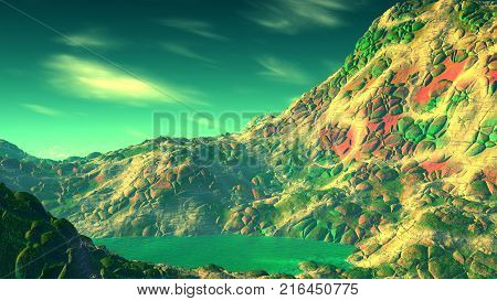 Alien Planet. Rocks And  Lake. 3D Rendering