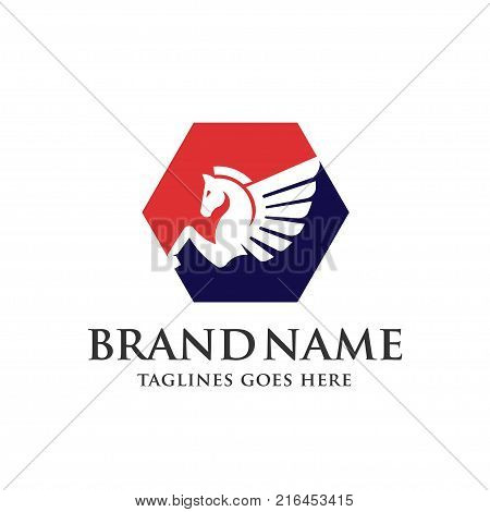 Winged Pegasus hexagon logo vector illustration. Stylized Pegasus mythical creature silhouette, horse winged logo vector,