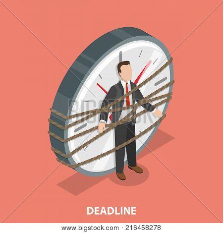 Deadline flat isometric vector concept. Man is tied to the huge watch.
