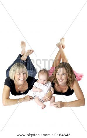 Grandmother With Her Daughter And New Granddaughter