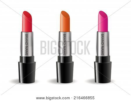 Lipstick realistic package set, isolated on white background. 3d collection of colored lipsticks, cosmetics mock-up for brand template. Vector illustration