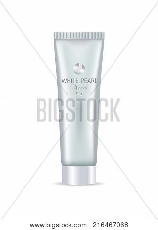 White pearl day face or hand cream in bottle daily care moisturization nourishment vector illustration isolated realistic tube for all skin types
