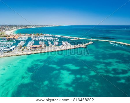 Aerial photograph of Hillarys Boat Harbour on the coast of Perth, Western Australia, Australia.