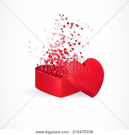 Small hearts flying from gift box. Love, surprise, confession. Valentines day concept. Can be used for greeting cards, posters, leaflets and brochure