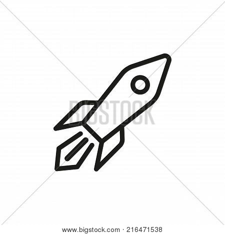 Icon of flying rocket. Launch, vehicle, spacecraft, torpedo. Spaceflight concept. Can be used for topics like cosmos, science, speed
