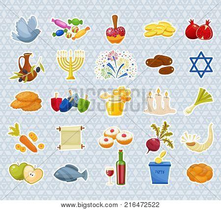 Jewish Holiday Hanukkah icons set. Traditional symbols of holiday light and candles isolated on white background. Cartoon style vector illustration
