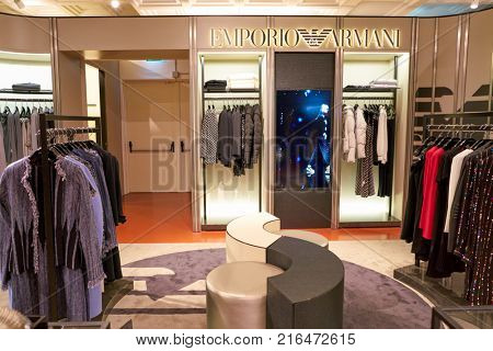 ROME, ITALY - CIRCA NOVEMBER, 2017: Emporio Armani clothing on display at a second flagship store of Rinascente in Rome.