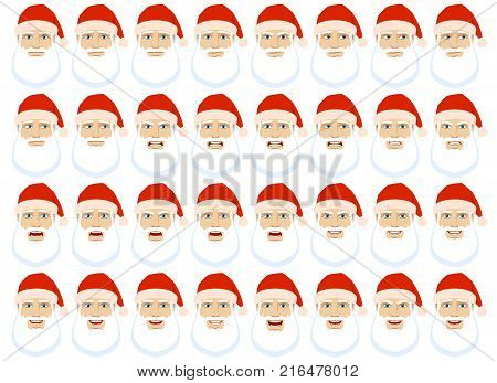 Emotions set. Santa Claus with different emotions and facial expressions. Portrait of Santa Claus character in a flat style. Vector illustration.