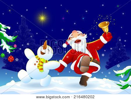 Santa Claus and snowman in the winter forest. A cheerful Santa Claus and a snowman rejoice at Christmas.