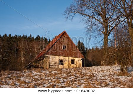 A lone village house in winter