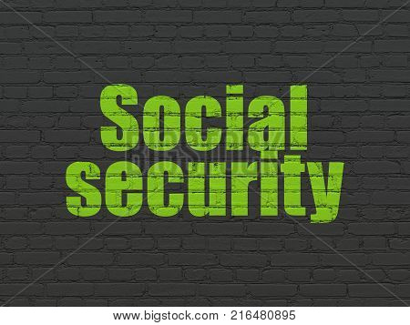 Safety concept: Painted green text Social Security on Black Brick wall background