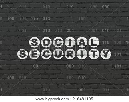 Privacy concept: Painted white text Social Security on Black Brick wall background with Binary Code