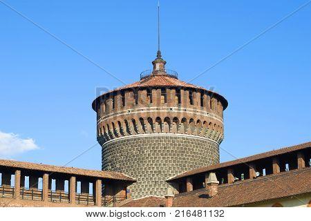 Top of the defensive tower Torrione del Carmine close-up. Castello Sforzesco, Milan