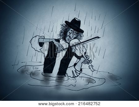 The wandering violinist plays the violin in the rain