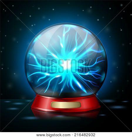 Plasma ball lamp with glowing electricity on dark background. Vector