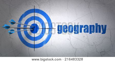 Success Science concept: arrows hitting the center of target, Blue Geography on wall background, 3D rendering