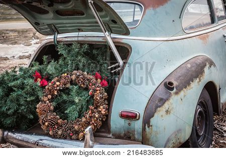 close up rustic image of the back end of an old green vintage car with the trunk open and a brown acorn Christmas wreath and Christmas tree in the back of trunk.