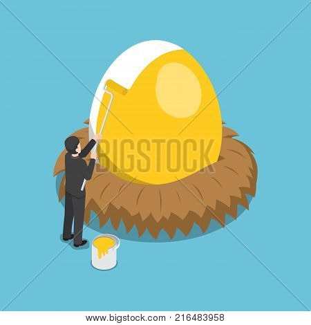 Flat 3d isometric businessman painting golden color on the egg. Financial  and investment concept.