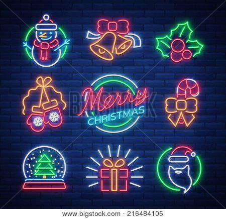 Christmas neon signs. Vector illustration on winter holidays. Neon luminous symbols for New Year and Christmas projects greetings cards, posters, banners, flyers. Neon signboards, vibrant advertising.