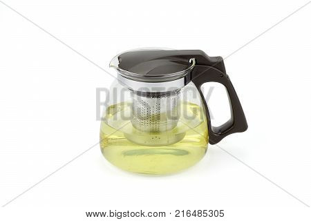 Glass jar with hot tea isolated on white background